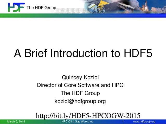 Hdf5 current future