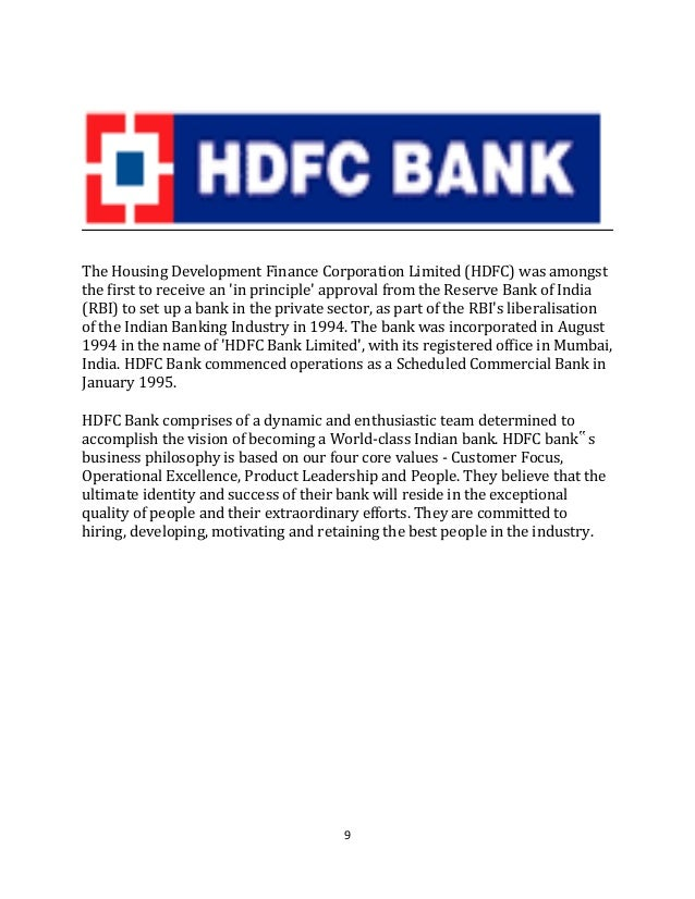 customer satisfaction project report of hdfc bank The impact of credit cards on hdfc bank in his paper usage pattern of credit card holders had analysed in his research article customer satisfaction.