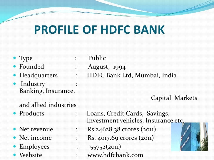 Hdfc persentation 6 profile of hdfc bank reheart Gallery