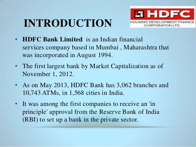 hdfc bank profile ppt