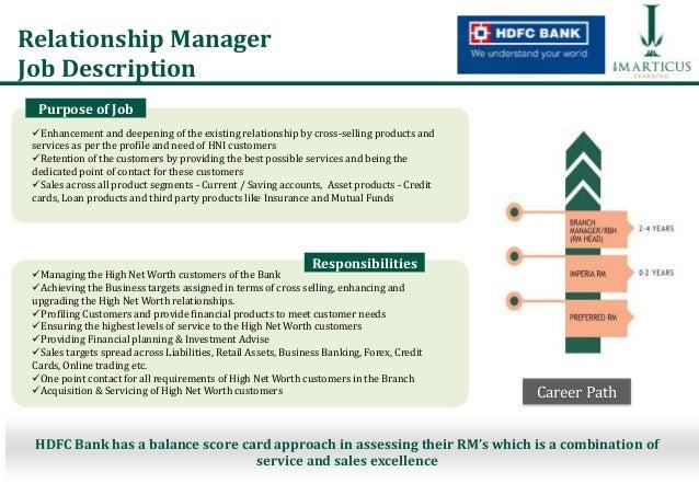 preferred relationship manager job description hdfc bank