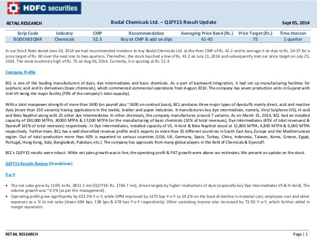 Bodal Chemicals Q1FY15: Buy at CMP and add on dips - HDFC Sec