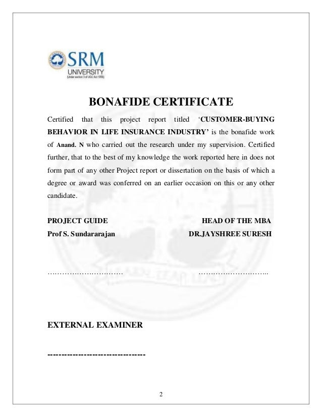 Hdfc life project bonafide certificate yadclub Gallery