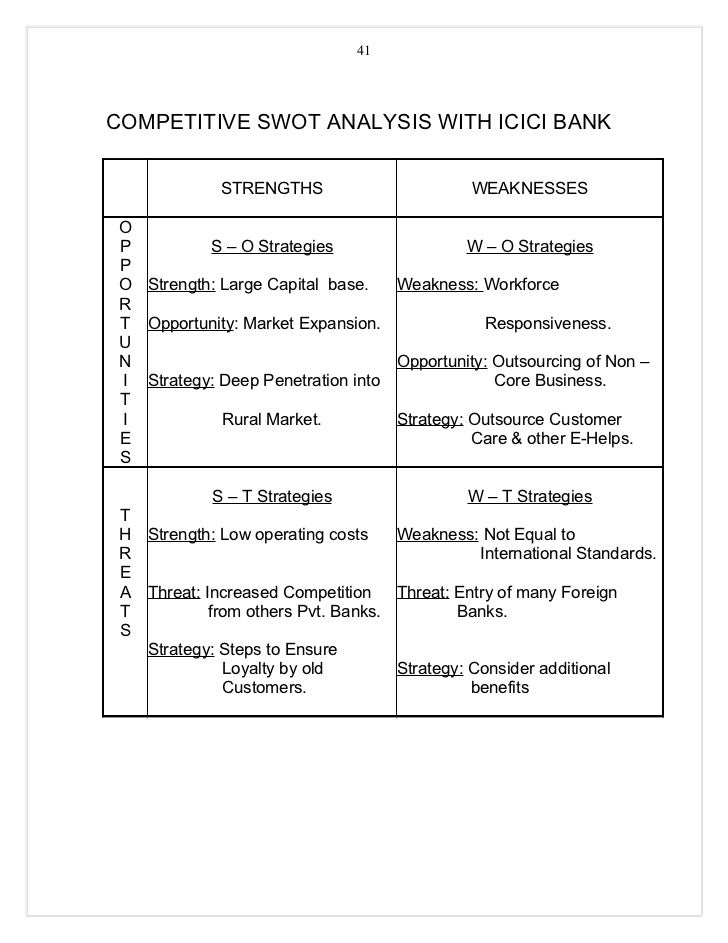 swot analysis of icici bank Synopsiswmi's icici bank limited contains a company overview, key facts, locations and subsidiaries, news and events as well as a swot analysis of the companysummarythis swot analysis company profile is a crucial resource for industry executives and anyone looking to quickly understand the key information concerning icici bank limited's businesswmi's 'icici bank limited swot analysis.