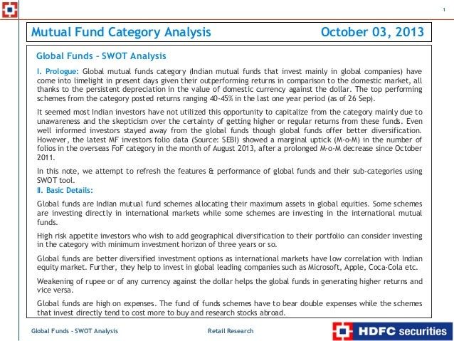 swot anaylsis of hdfc mutual fund Sorabh aggarwal swot analysis chapter-7 (b)introduction to project (c) introduction to mutual funds meaning • • 1 8 9 types mutual fund industry in india .