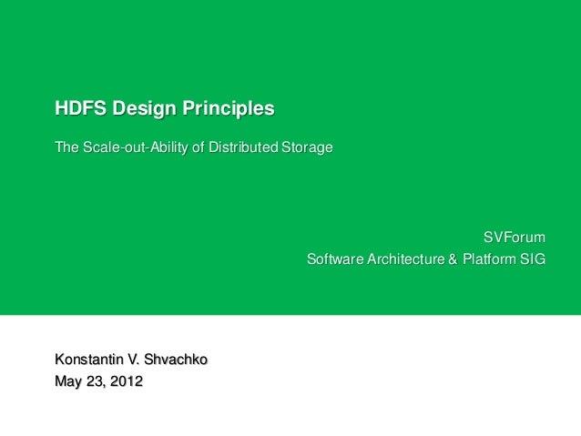 Principles Of Design List : Hdfs design principles
