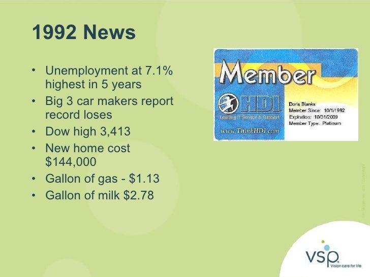 1992 News  <ul><li>Unemployment at 7.1% highest in 5 years  </li></ul><ul><li>Big 3 car makers report record loses </li></...