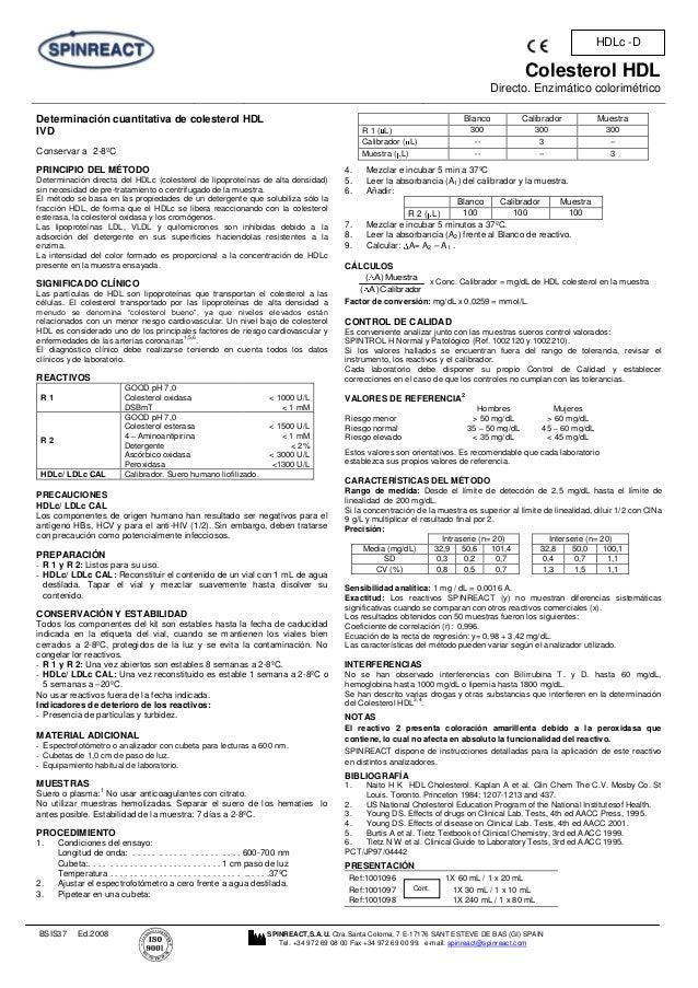 Colesterol HDL Directo. Enzimático colorimétrico BSIS37 Ed.2008 SPINREACT,S.A.U. Ctra.Santa Coloma, 7 E-17176 SANT ESTEVE ...