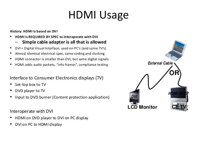 HDMI Usage History: HDMI is based on DVI • HDMI is REQUIRED BY SPEC to interoperate with DVI – Simple cable adapter is all...