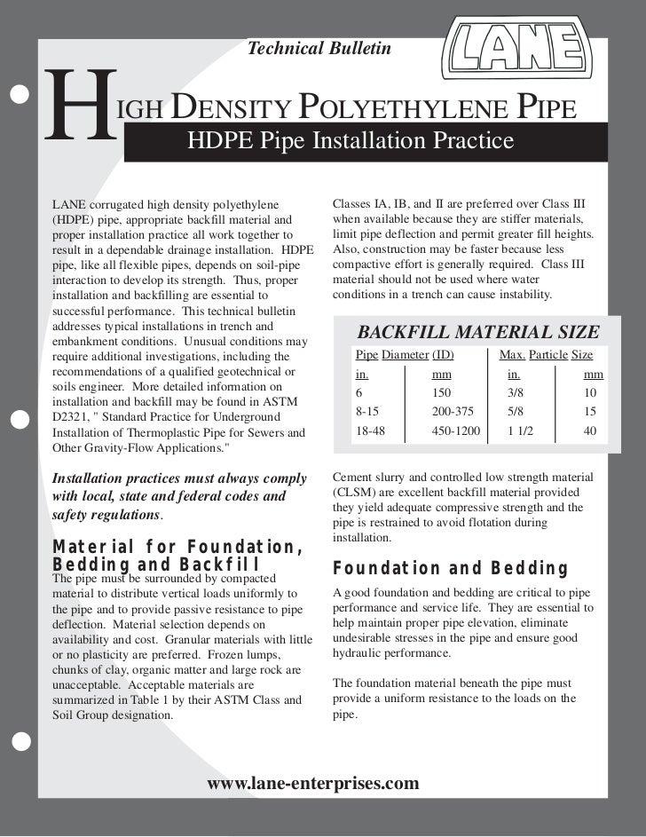 Technical BulletinH            IGH DENSITY POLYETHYLENE PIPE                  HDPE Pipe Installation PracticeLANE corrugat...