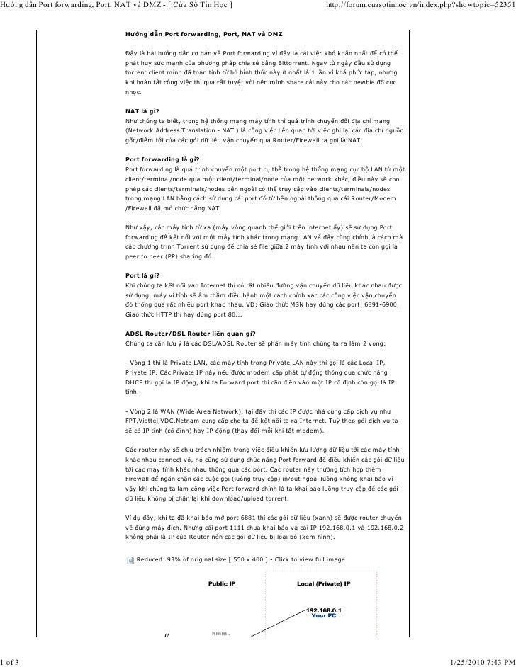 Hướng dẫn Port forwarding, Port, NAT và DMZ - [ Cửa Sổ Tin Học ]                                      http://forum.cuasoti...