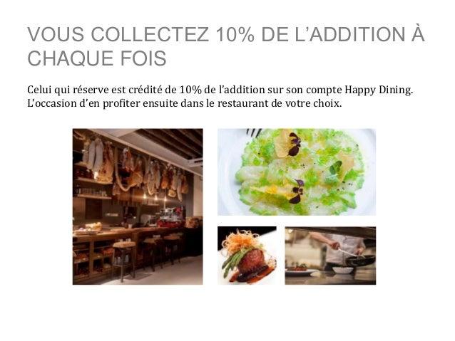 VOUS COLLECTEZ 10% DE L'ADDITION À CHAQUE FOIS Celui qui réserve est crédité de 10% de l'addition sur son compte Happy Din...
