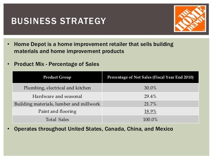 home depot strategy analysis To compete with home depot, lowe's shifted its strategy in 1989 to  using dupont analysis, it is possible to better determine why lowe's.