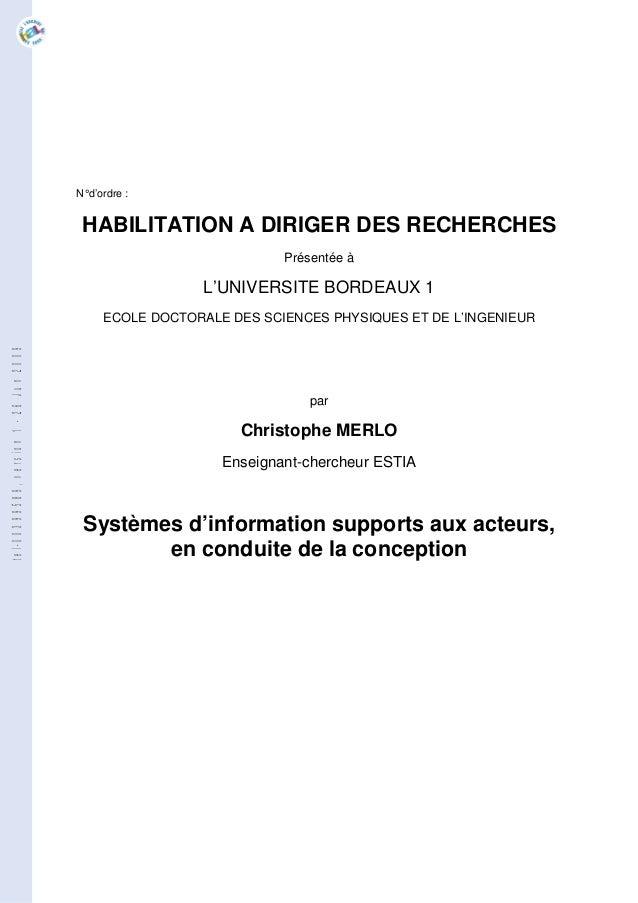 N°d'ordre : HABILITATION A DIRIGER DES RECHERCHES Présentée à L'UNIVERSITE BORDEAUX 1 ECOLE DOCTORALE DES SCIENCES PHYSIQU...
