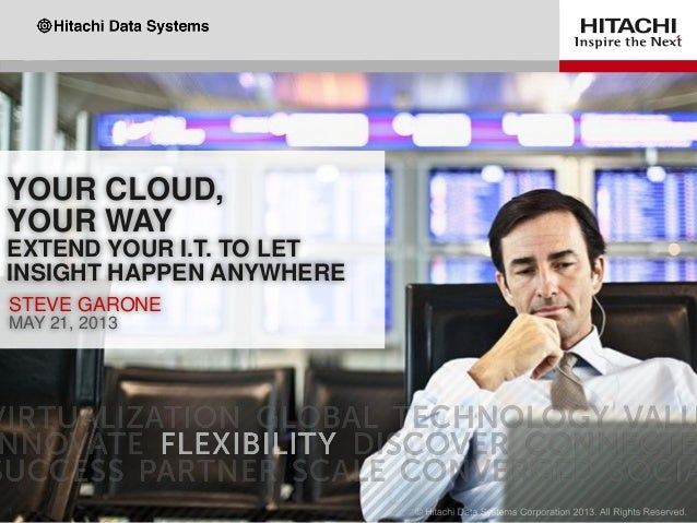 YOUR CLOUD, YOUR WAY EXTEND YOUR I.T. TO LET INSIGHT HAPPEN ANYWHERE STEVE GARONE MAY 21, 2013