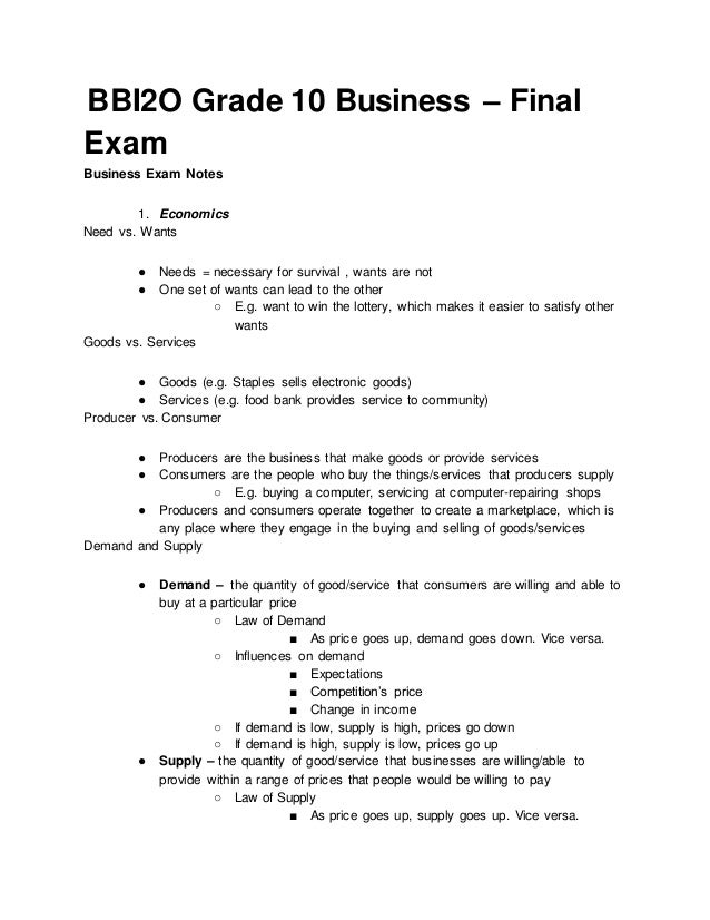 Bbi2 o grade 10 business – final exam