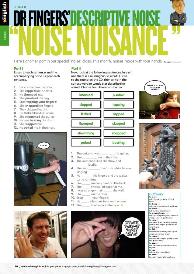 """Noises """"NoiseNuisance""""Part I Listen to each sentence and the accompanying noise. Repeat each sentence. 1. He knocked on t..."""