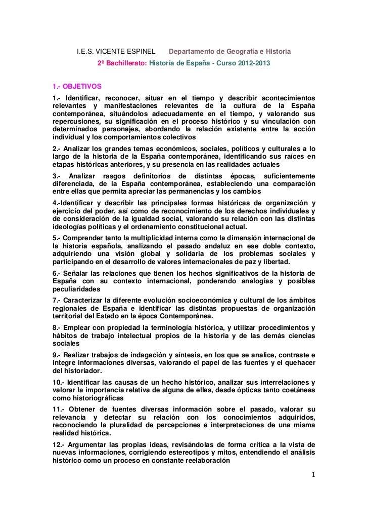 I.E.S. VICENTE ESPINEL       Departamento de Geografía e Historia              2º Bachillerato: Historia de España - Curso...