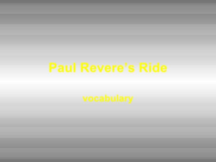 Paul Revere's Ride vocabulary