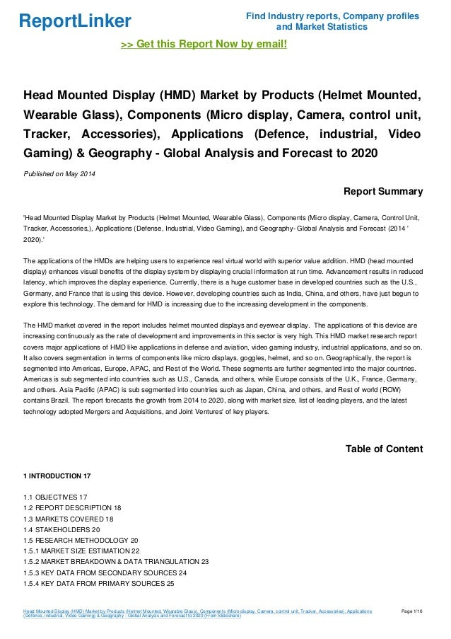 ReportLinker Find Industry reports, Company profiles and Market Statistics >> Get this Report Now by email! Head Mounted D...