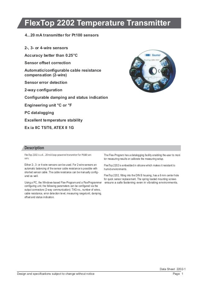 Page 1Design and specifications subject to change without notice Data Sheet 2202-1 FlexTop 2202 Temperature Transmitter Des...