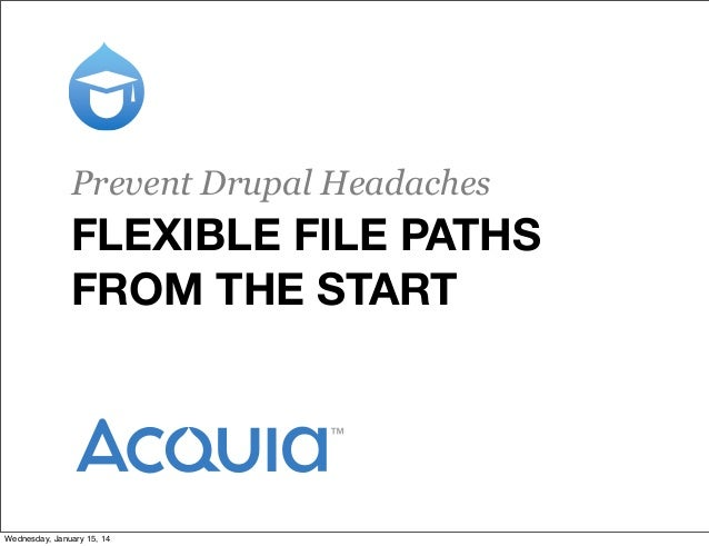 Prevent Drupal Headaches  FLEXIBLE FILE PATHS FROM THE START  Wednesday, January 15, 14