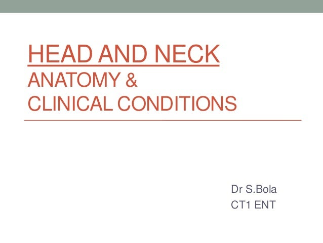 HEAD AND NECK ANATOMY & CLINICAL CONDITIONS  Dr S.Bola CT1 ENT