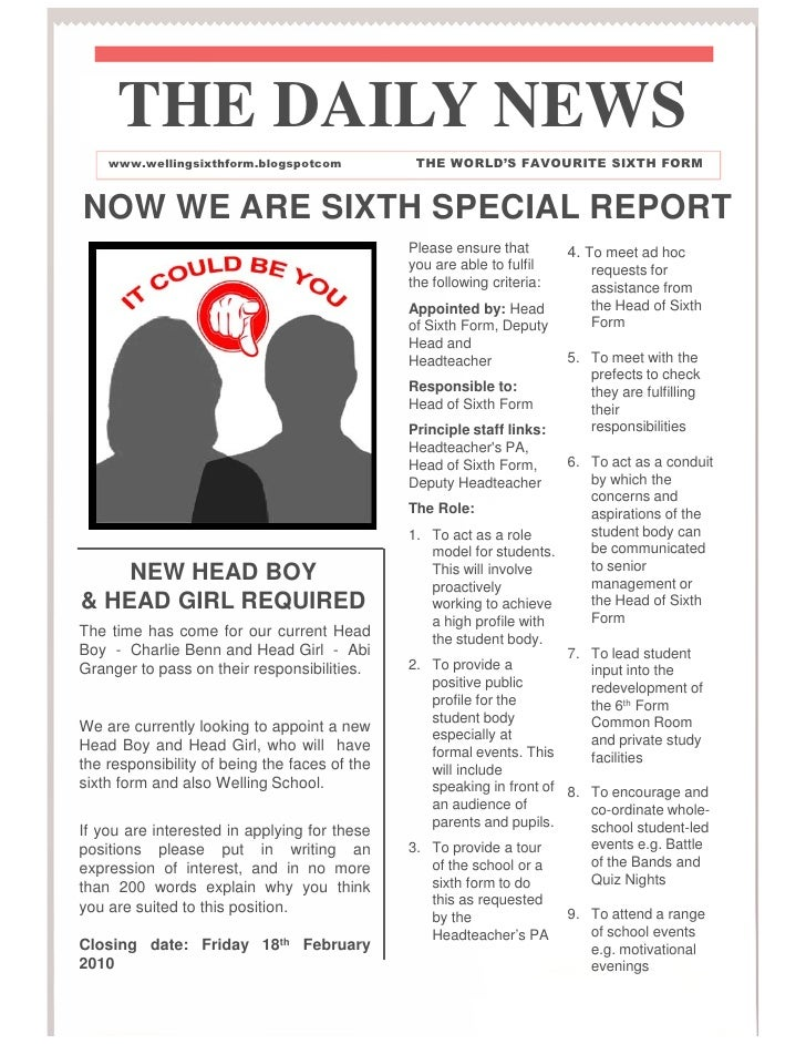 THE DAILY NEWS    www.wellingsixthform.blogspotcom            THE WORLD'S FAVOURITE SIXTH FORMNOW WE ARE SIXTH SPECIAL REP...