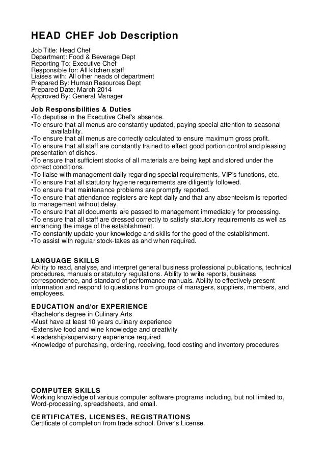 Chef Duties Resume Cv Cover Letter