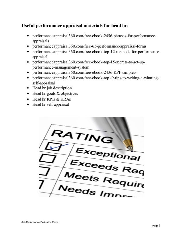 Head Hr Performance Appraisal