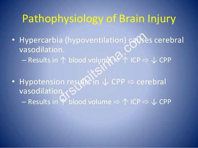 Pathophysiology of Brain Injury • Hypercarbia (hypoventilation) causes cerebral vasodilation. – Results in ↑ blood volume ...
