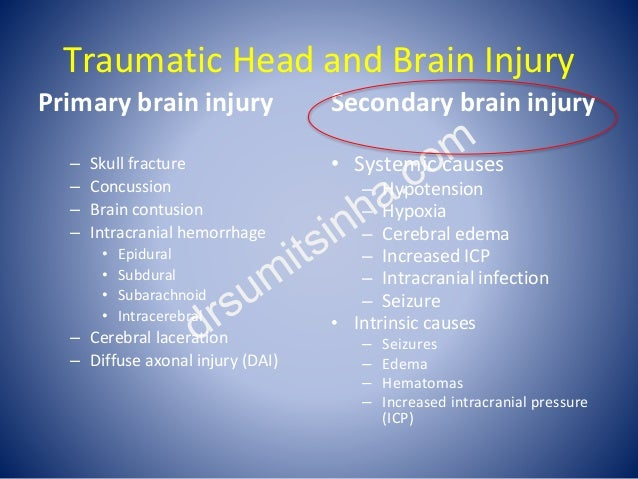 Traumatic Head and Brain Injury Primary brain injury – Skull fracture – Concussion – Brain contusion – Intracranial hemorr...