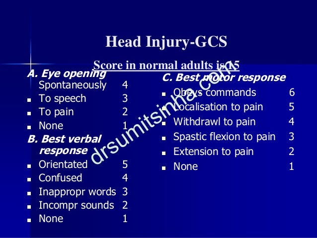Head Injury-GCS Score in normal adults is 15 A. Eye opening Spontaneously 4 ■ To speech 3 ■ To pain 2 ■ None 1 B. Best ver...