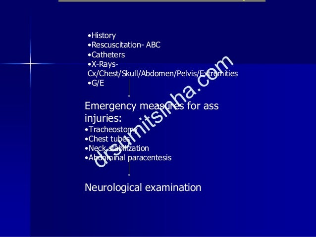 •History •Rescuscitation- ABC •Catheters •X-Rays- Cx/Chest/Skull/Abdomen/Pelvis/Extremities •G/E Emergency measures for as...
