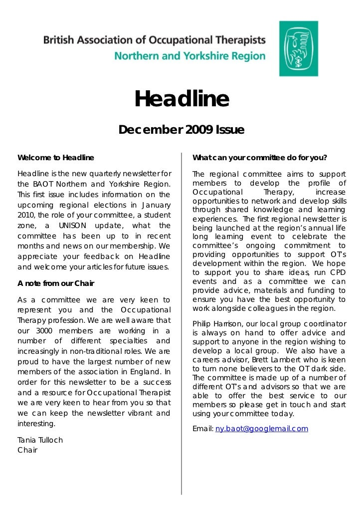 Headline                             December 2009 IssueWelcome to Headline                             What can your comm...
