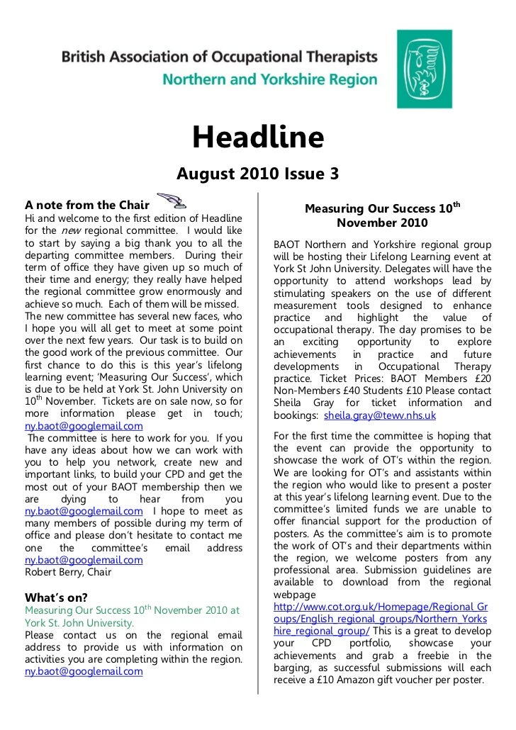 Headline                                 August 2010 Issue 3A note from the Chair                                     Meas...