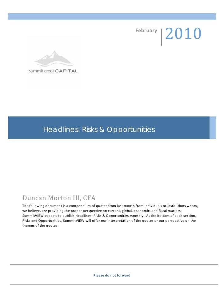 Headlines: Risks & Opportunities