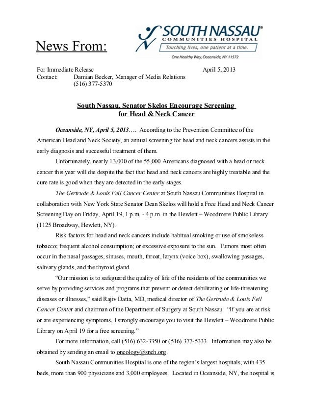 News From:For Immediate Release                                                April 5, 2013Contact:     Damian Becker, Ma...