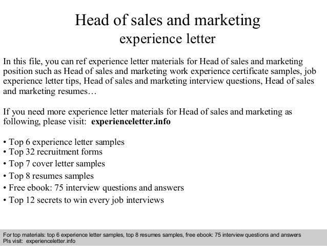 Head Of Sales And Marketing Experience Letter
