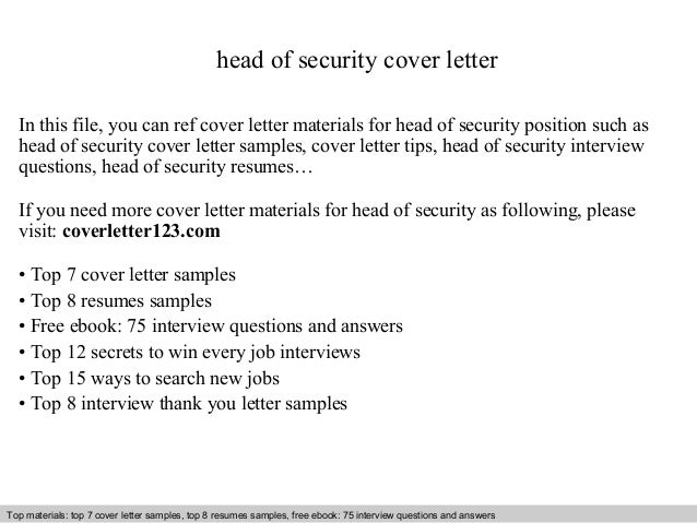 Head Of Security Cover Letter In This File You Can Ref Materials For