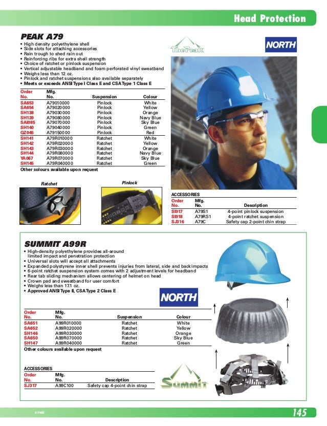 Head Protection 14521746E Peak A79 •	 High density polyethylene shell      •	 Side slots for attaching accessories •	 Rain...
