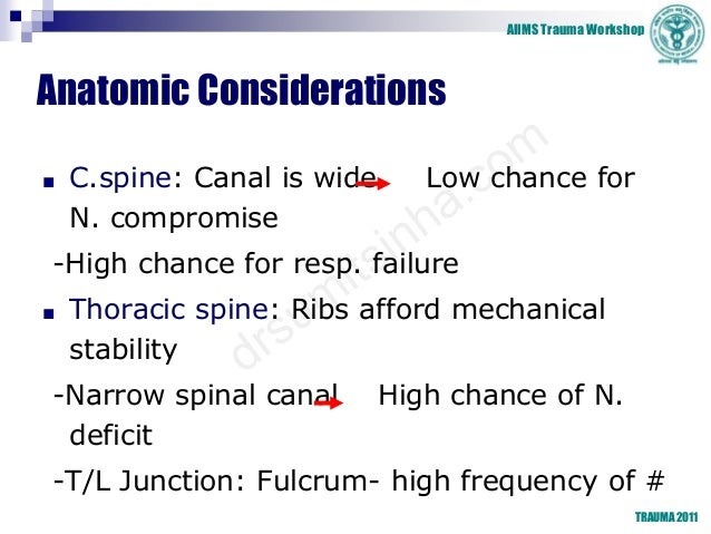 AIIMS Trauma Workshop TRAUMA 2011 Anatomic Considerations ■ C.spine: Canal is wide Low chance for N. compromise -High chan...