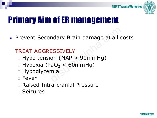 AIIMS Trauma Workshop Primary Aim of ER management ■ Prevent Secondary Brain damage at all costs TREAT AGGRESSIVELY ◻ Hypo...