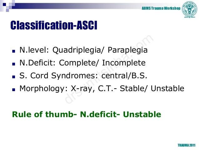 AIIMS Trauma Workshop TRAUMA 2011 Classification-ASCI ■ N.level: Quadriplegia/ Paraplegia ■ N.Deficit: Complete/ Incomplet...
