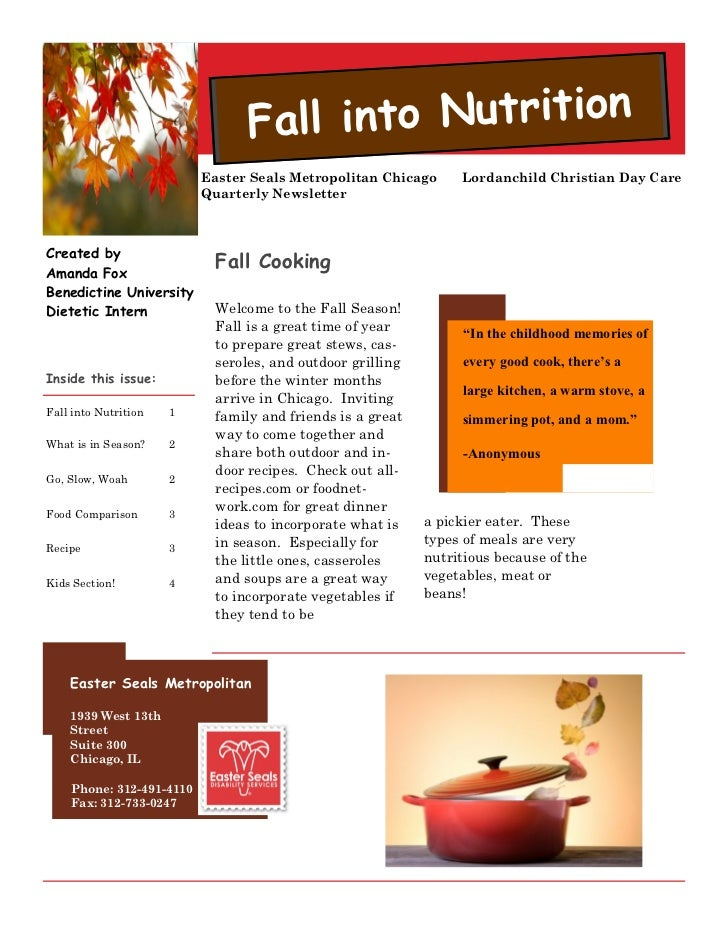 Fall into Nutrition                          Easter Seals Metropolitan Chicago     Lordanchild Christian Day Care         ...