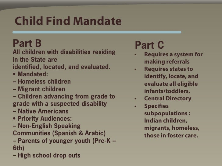 The Child Find Mandate What Does It >> Head Start Presentation 5 10 2010