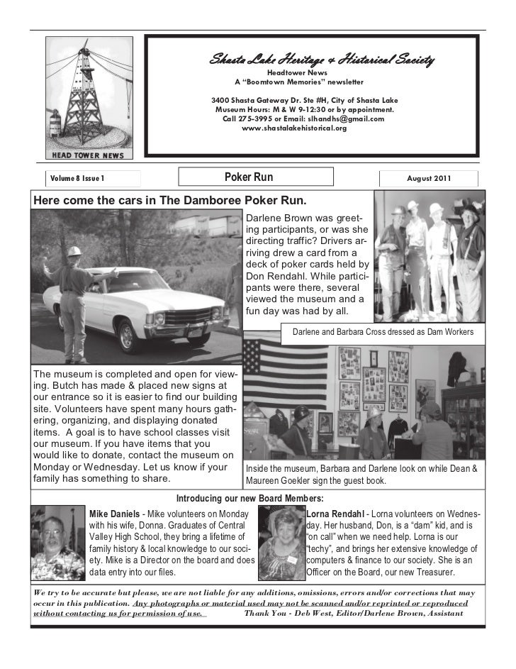 Shasta Lake Heritage & Historical Society                                                           Headtower News        ...