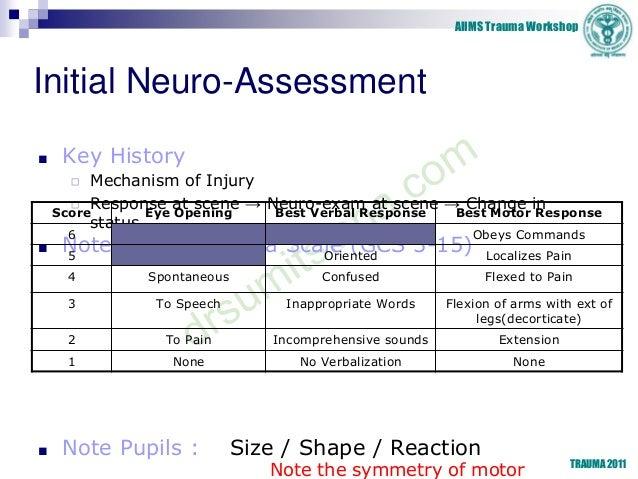 AIIMS Trauma Workshop TRAUMA 2011 Initial Neuro-Assessment ■ Key History ◻ Mechanism of Injury ◻ Response at scene → Neuro...