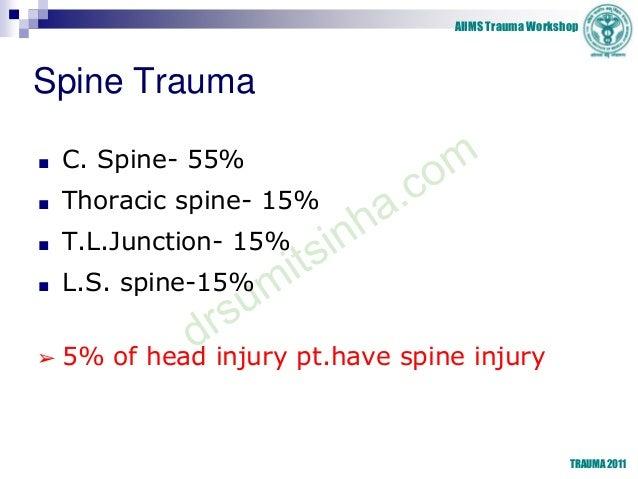 AIIMS Trauma Workshop TRAUMA 2011 Spine Trauma ■ C. Spine- 55% ■ Thoracic spine- 15% ■ T.L.Junction- 15% ■ L.S. spine-15% ...