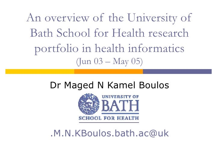 An overview of the University of Bath School for Health research portfolio in health informatics (Jun 03 – May 05) Dr Mage...